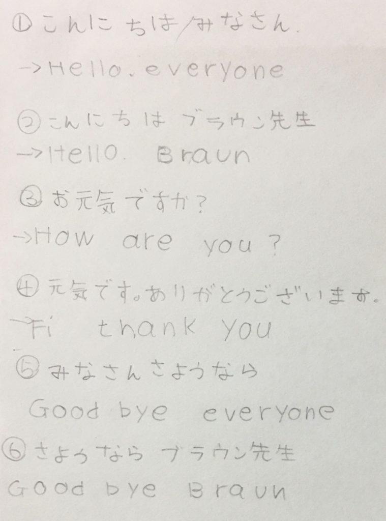 4日目 こんにちは、みなさん こんにちは、ブラウン先生 お元気ですか? 元気です。ありがとうございます。 さようなら、みなさん さようなら、ブラウン先生 新しい友だちをつくろう