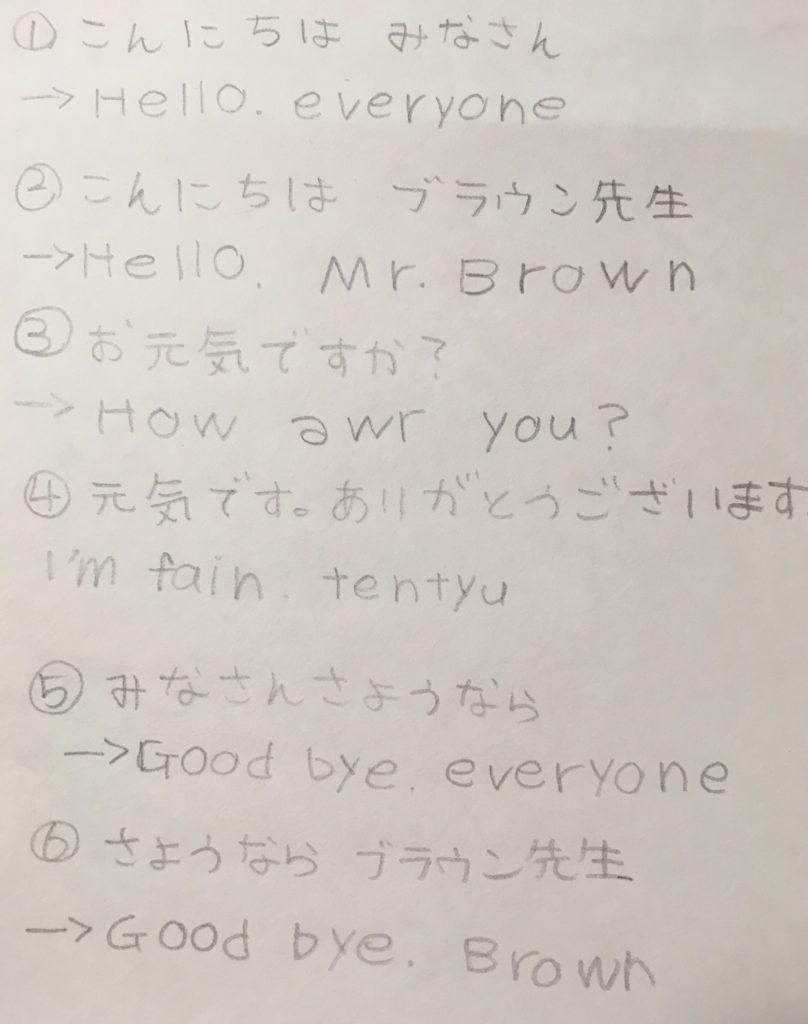 2日目 こんにちは、みなさん こんにちは、ブラウン先生 お元気ですか? 元気です。ありがとうございます。 さようなら、みなさん さようなら、ブラウン先生