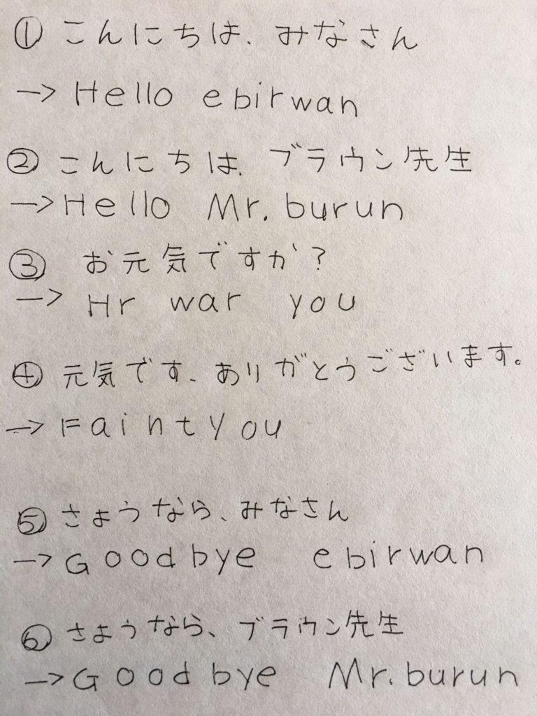1日目 こんにちは、みなさん こんにちは、ブラウン先生 お元気ですか? 元気です。ありがとうございます。 さようなら、みなさん さようなら、ブラウン先生